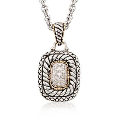 Andrea Candela .19 ct. t.w. Diamond Necklace in 18kt Yellow Gold and Sterling Silver, , default