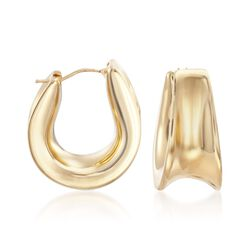 Italian Andiamo 14kt Yellow Gold Curved Hoop Earrings, , default