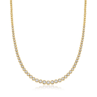 1.50 ct. t.w. Bezel-Set Diamond Necklace in 18kt Gold Over Sterling