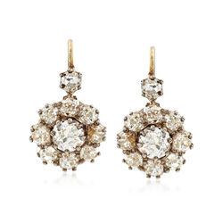 C. 1930 Vintage 4.00 ct. t.w. Diamond Cluster Drop Earrings in 14kt Yellow Gold, , default