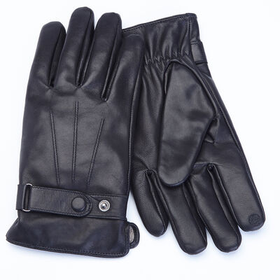 Royce Black Lambskin Leather Gloves, , default