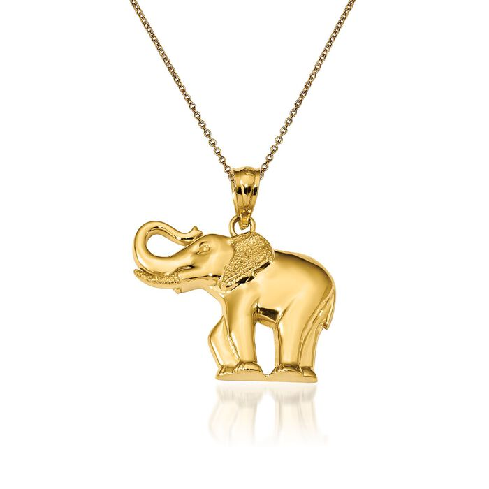 14kt Yellow Gold Elephant Pendant Necklace. 18""