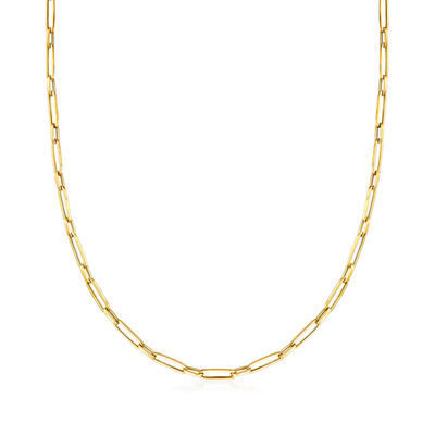 Italian 18kt Yellow Gold Paper Clip Link Necklace