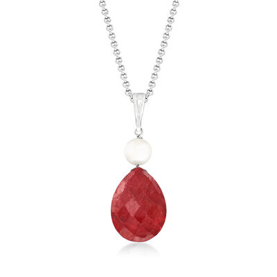 6-6.5mm Cultured Pearl and 10.00 Carat Pear-Shaped Ruby Pendant Necklace in Sterling Silver
