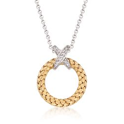 "Charles Garnier ""Calixta"" .10 ct. t.w. CZ Open Circle Pendant Necklace in Two-Tone Sterling Silver, , default"