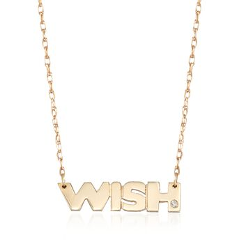 """14kt Yellow Gold """"Wish"""" Necklace With Diamond Accent, , default"""