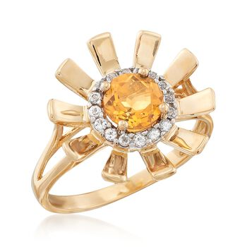 .70 Carat Citrine and .10 ct. t.w. White Topaz Sunflower Ring in 14kt Yellow Gold, , default