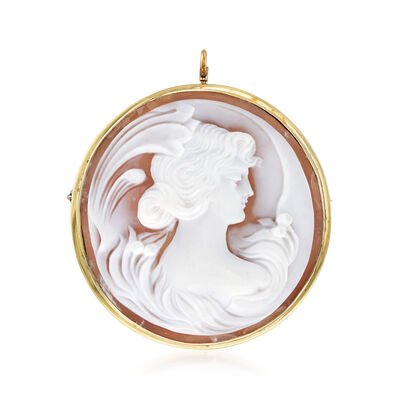 C. 1960 Vintage Pink Shell Cameo Pin/Pendant in 14kt Yellow Gold, , default