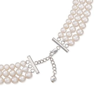 "5-8mm Cultured Pearl Three-Strand Necklace with Sterling Silver. 16"", , default"