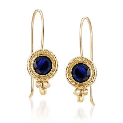 .60 ct. t.w. Bezel-Set Sapphire Drop Earrings in 14kt Yellow Gold, , default