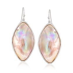 Pink Mother-Of-Pearl Slice Drop Earrings in Sterling Silver, , default