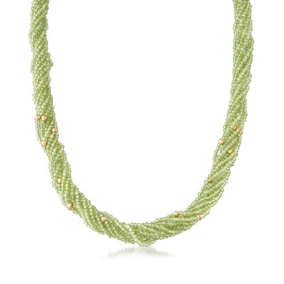 122.50 ct. t.w. Peridot Torsade Necklace with 14kt Yellow Gold, , default