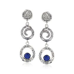 Lapis and Textured Sterling Silver Multi-Circle Drop Earrings, , default