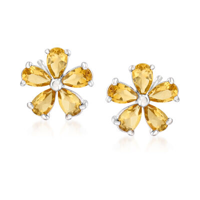 2.00 ct. t.w. Citrine Flower Earrings in Sterling Silver, , default