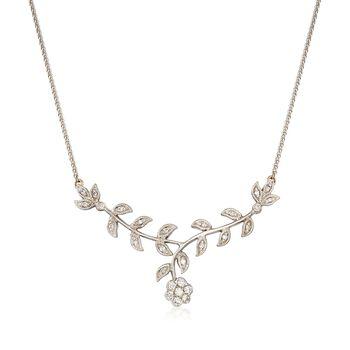 """C. 2000 Vintage .40 ct. t.w. Diamond Floral Drop Necklace in 14kt White Gold. 16.25"""", , default"""