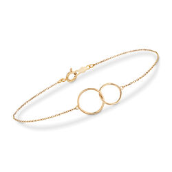"18kt Yellow Gold Interlocking Open Circle Bracelet. 7"", , default"