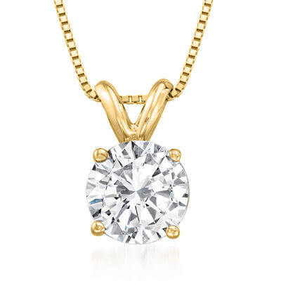 1.00 Carat Diamond Solitaire Necklace in 14kt Yellow Gold