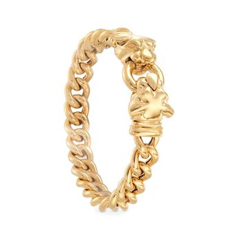 Italian 18kt Gold Over Sterling Double Panther Head Bracelet, , default