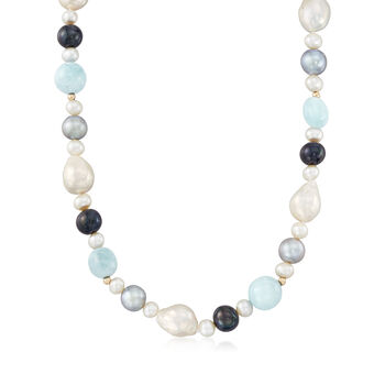 6-12mm Multicolored Cultured Pearl and Milky Aquamarine Bead Necklace with 14kt Yellow Gold