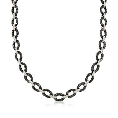 2.68 ct. t.w. Black and White Diamond Link Necklace in Sterling Silver, , default