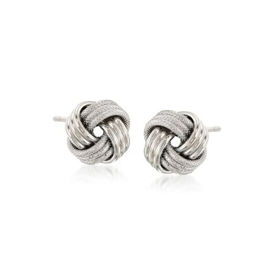 14kt White Gold Textured and Polished Love Knot Stud Earrings, , default