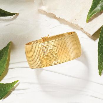 Italian 18kt Yellow Gold Over Sterling Silver Omega Bracelet