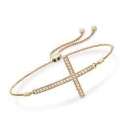 .50 ct. t.w. Diamond Sideways Cross Bolo Bracelet in 14kt Yellow Gold, , default