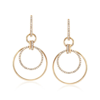 .58 ct. t.w. Diamond Multi-Circle Hoop Drop Earrings in 14kt Yellow Gold
