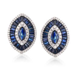 5.40 ct. t.w. Sapphire and .64 ct. t.w. Diamond Marquise-Shaped Earrings in 18kt White Gold, , default