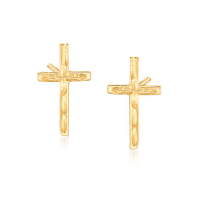 14kt Yellow Gold Cross Stud Earrings