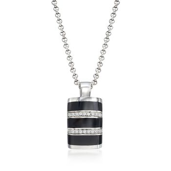 "Belle Etoile ""Regal"" Black Onyx and .25 ct. t.w. CZ Pendant in Sterling Silver, , default"