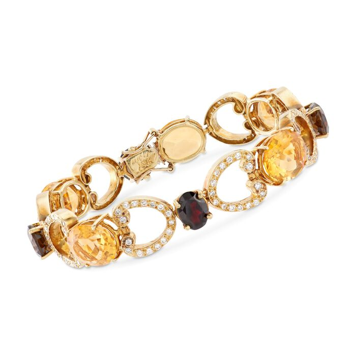 """C. 1980 Vintage 24.50 ct. t.w. Citrine and 6.00 ct. t.w. Smoky Quartz Bracelet with Diamonds and Garnet Accent in 18kt Gold. 7.25"""""""