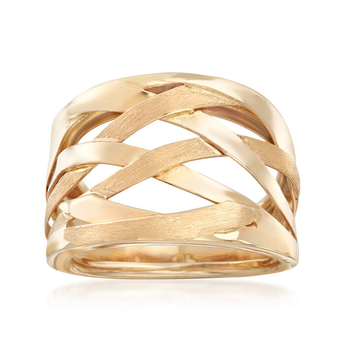 Italian 14kt Yellow Gold Open-Space Woven-Look Ring, , default