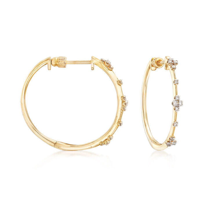 Gabriel Designs .14 ct. t.w. Diamond Station Hoops in 14kt Yellow Gold. 7/8""
