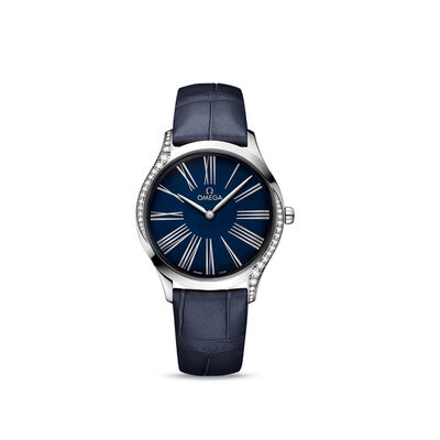 Omega De Ville Tresor Women's 36mm Stainless Steel Watch with Diamonds and Blue Crocodile Leather