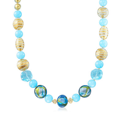 Italian Murano Glass Bead Necklace in 18kt Gold Over Sterling Silver