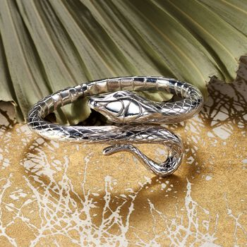 Italian Sterling Silver Snake Bypass Bangle Bracelet, , default