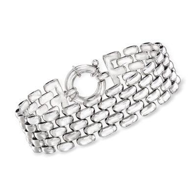 Italian Sterling Silver Panther-Link Bracelet