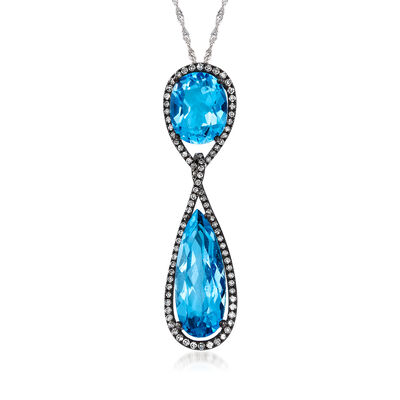 C. 2000 Vintage 7.35 ct. t.w. Blue Topaz and .75 ct. t.w. Diamond Drop Necklace in 14kt White Gold, , default