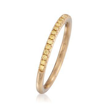 Henri Daussi .15 ct. t.w. Fancy Yellow Diamond Wedding Ring in 18kt Yellow Gold, , default