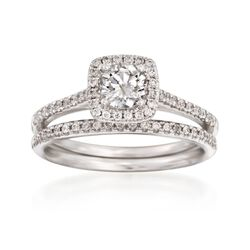 .86 ct. t.w. Diamond Bridal Set: Square Halo Engagement and Wedding Rings in 14kt White Gold, , default