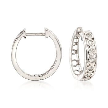 ".25 ct. t.w. Diamond Bezel Hoop Earrings in 14kt White Gold. 5/8"", , default"