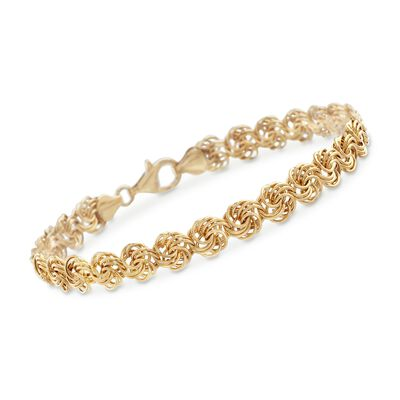 18kt Yellow Gold Small Rosette Link Bracelet, , default