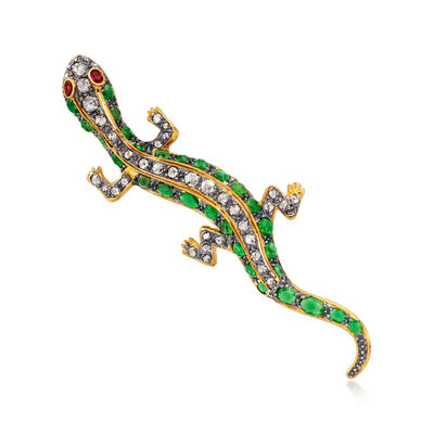 C. 1980 Vintage 5.41 ct. t.w. Multi-Gem and 1.45 ct. t.w. Diamond Lizard Pin/Pendant in Sterling Silver and 14kt Gold Over Sterling