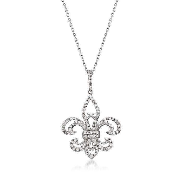 .50 ct. t.w. Diamond Fleur-De-Lis Pendant Necklace in Sterling Silver