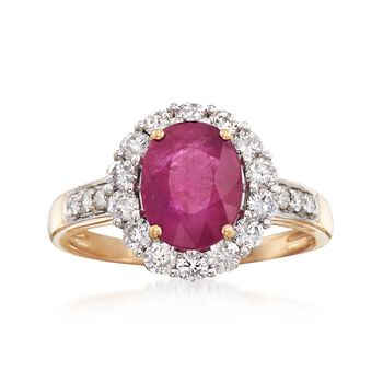 2.00 Carat Burmese Ruby and .64 ct. t.w. Diamond Ring in 18kt Yellow Gold, , default