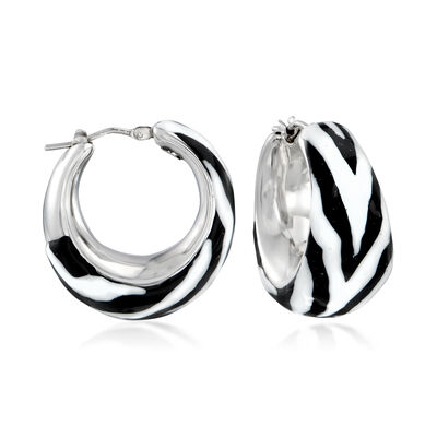 Italian Zebra Enamel Hoop Earrings in Sterling Silver