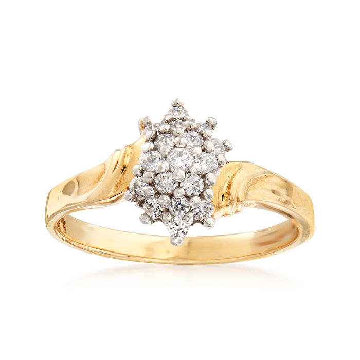 C. 1980 Vintage .40 ct. t.w. Diamond Cluster Ring in 10kt Yellow Gold. Size 7.75, , default