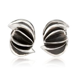 """Zina Sterling Silver """"Contemporary"""" Folded Sculpture Clip-On Earrings , , default"""