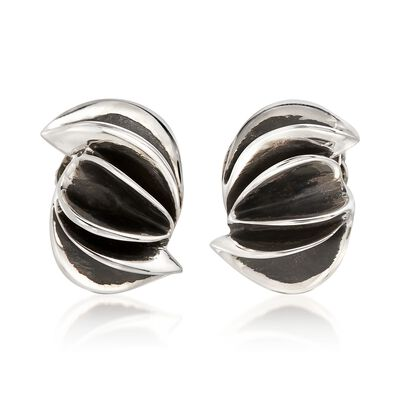 "Zina Sterling Silver ""Contemporary"" Folded Sculpture Clip-On Earrings, , default"